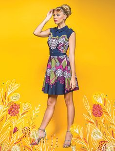 Ted Baker floral dress, $229, and Kate Spade earrings, $48, Bloomingdale's at The Mall at Millenia. Tom Ford sunglasses, $450, and Vince Camuto shoes, $275, Tuni in Winter Park.  Floral Fantasy - Orlando Magazine - April 2016 - Orlando, FL