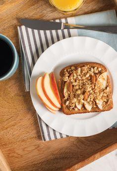VECTOR® GRANOLA APPLE TOAST_____________ Vector® Granola + almond butter + toast + apple + honey + cinnamon Granola, Cereal, Toast, Foods, Breakfast, Food, Food Food, Muesli, Breakfast Cereal