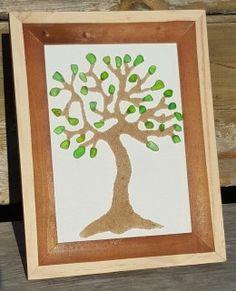 25+ Pieces Of 100% Genuine Green Nova Scotia Seaglass ! Framed 4x6 Beautiful Branches! #seaglass #novascotia #art #pebbleart