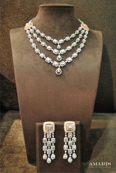 Amaris Jewels , Prerna Rajpal , Necklace , layered , three string , string , Diamond , earring , chandelier , Reception , Wedding , Bridal , bridal Jewellery