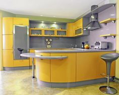 47 Awesome Yellow Kitchen Designs That You Have To See. Tuscan kitchen design immediately conjures images of Italy and sunlight and warmth. Yellow Kitchen Interior, Yellow Kitchen Paint, Yellow Kitchen Designs, Yellow Kitchen Cabinets, Tuscan Kitchen Design, Country Kitchen Designs, Beautiful Kitchen Designs, Kitchen Cabinet Remodel, Kitchen Cabinet Colors