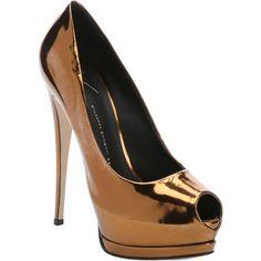 Giuseppe Zanotti Bronze Metallic Leather 'sharon 105' Peep Toe... ($465) ❤ liked on Polyvore featuring shoes, pumps, bronze, leather shoes, platform pumps, high heel shoes, high heel pumps and peep toe platform pumps
