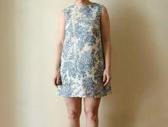 Cream and Blue Mini Sleeveless Dress Toile de by karmologyclinic, $65.00