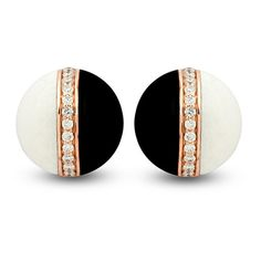 Rose Gold Black and White Mondrian Studs by The Jewel Teller ($2,185) ❤ liked on Polyvore featuring jewelry, earrings, joias, joyas, red gold jewelry, black and white earrings, jeweled earrings, jewels jewelry and pink gold earrings