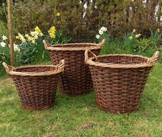 Small, medium & large slewed weave Log baskets by John Cowan Baskets