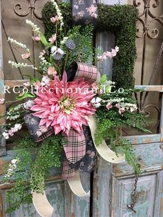 Spring Wreath, Summer Wreath, Door Decor, Moss Wreath All of our Wreaths & Door Swags are designed with the highest quality in Season ribbon and florals market has to offer. ▪️Base-rectangle faux moss wreath ▪️Ribbon-D. Stevens ribbon ▪️Florals-pink dahlia Measurements- ▪️Length-46