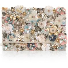 Accessorize Katrina Floral Foldover (£35) ❤ liked on Polyvore featuring bags, handbags, clutches, bags & luggage handbags, foldover clutches, handbag purse, sequin purse, embellished handbags and floral handbags