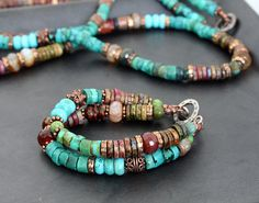 Bracelet / Turquoise agate and ceramic by ElenaDoronina on Etsy, $70.00
