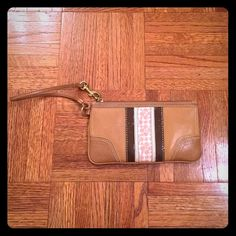 Authentic Coach Leather Clutch Wristlet Perfect to hold small items such as keys, cash, credit cards, etc.  Can fit some phones Coach Bags Clutches & Wristlets