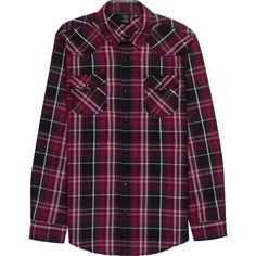 Burnside Razor Woven Plaid Long-Sleeve Shirt (233980 PYG) ❤ liked on Polyvore featuring men's fashion, men's clothing, men's shirts, men's casual shirts, mens plaid shirts, mens long sleeve shirts, mens tartan shirt and mens longsleeve shirts