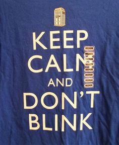 Doctor Who Keep Calm & Don't Blink T-Shirt Adult Medium New with Tag