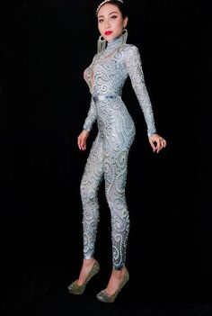 20d1f53459f Silvery gray Rhinestones Pearls Jumpsuit Sexy Stretch Bling Crystals  Bodysuit Bar Female Singer Stage Performance Party Costume
