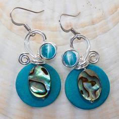 Abalone Jewelry, Shell Earrings, Bohemian Earrings, Abalone Earrings, Wirewrapped Earrings, Turquoise Earrings, Boho Chic Jewelry