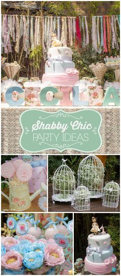 Check out this garden party! Decorations, cake and cookie pops in a shabby chic style! See more party planning ideas at CatchMyParty.com!