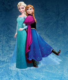 Anna and Elsa wallpaper probably with a polonaise, a kirtle, and a dinner gown in The Frozen Club