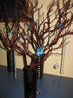 Manzanita Tree Centerpieces :  wedding brown centerpieces decor diy manzanita reception tree turqupise IMG 1541