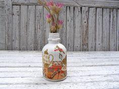 Decoupage Bottle Vintage Glass Bottle Cottage chic Flower Vase Shabby Shic  Decorative Bottle Kitchen Glass mini bottle