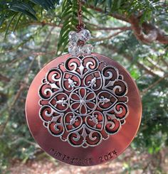 Christmas 2014 Metal Stamped Copper  Ornament by FHGoldDesigns