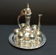 Tea pot set tray and goblets vintage set hand made in Indonesia by Bayleesncream on Etsy
