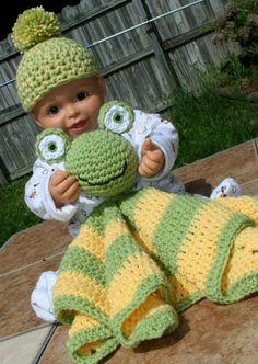 Baby Frog blanket afghan blankie buddie yellow by Loopedwithlove4U, $45.00