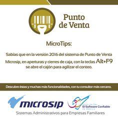 #MicroTips Sabías que en la versión 2016 del sistema de Punto de Venta Microsip, en aperturas y cierres de caja, con la teclas Alt+F9 se abre el cajón para agilizar el conteo.