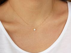 Floating Diamond Necklace CZ Necklace by BrightMomentsJewelry