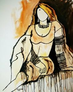 Buy Traditional Beauty 11 artwork number a famous painting by an Indian Artist Mrinal Dutt. Indian Art Ideas offer contemporary and modern art at reasonable price. Modern Indian Art, Indian Folk Art, Indian Artist, African Art Paintings, Modern Art Paintings, Rajasthani Art, India Art, Figure Painting, Painting Art