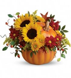 Pretty Pumpkin Bouquet - Rustic autumn flowers are stunning in a hand-painted ceramic pumpkin that looks like it just came from the patch. What a truly gorgeous gift for somebody special. They'll love it year-round - for flowers, candy or just to admire.