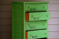 Vintage UP cycled Hand painted Green Numbers by meredithmbrooks, $345.00