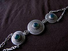 Argent sterling Agate Vert filigrane Bracelet