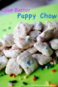 Cake Batter Puppy Chow  (makes about 1 gallon of mix)  10 C rice Chex cereal  10 squares of white almond bark  1 small bottle sprinkles  1 1/2 C dry yellow cake mix  1/2 C powdered sugar    OR   Funfetti cake mix+white choc. chips THIS LOOKS SO GOOD