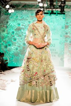 11 Outfits To Love From Rahul Mishra's Wedding Collection Indian Dresses, Indian Outfits, Indian Clothes, Designer Punjabi Suits, Designer Sarees, Green Lehenga, Lehenga Collection, Bridal Lehenga Choli, Indian Couture