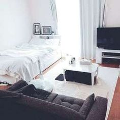Bedroom layout tiny studio apartments Ideas for 2019 Studio Layout, Studio Apartment Layout, Studio Apartment Decorating, Apartment Design, Studio Apt, Small Apartment Bedrooms, Cute Apartment, Apartment Bedroom Decor, Apartment Ideas