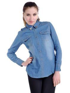 Anna-Kaci S/M Fit Blue Skull Denim Breast Pockets Button Down Long Sleeve Shirt Anna-Kaci. $31.90