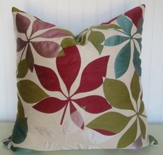 Red, Green, Turqouise, Purple and Cream Transitional Decorative Pillow Cover-- 18x18 or 20x20 22x22 Throw Pillow