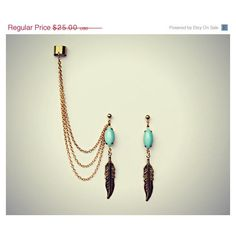 blue feather ear cuff and earrings, chains ear cuff, feather earrings,... ($25) ❤ liked on Polyvore featuring jewelry, earrings, chain cuff earrings, vintage blue earrings, blue feather earrings, vintage stud earrings and feather earrings
