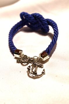 Nautical Knot Rope Bracelet with Anchor Charm