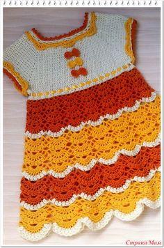 """""""Апельсиновый фреш"""" - такая ассоциация родилась у мамы хозяйки платья. Выполнено из хлопка Coco, крючок №1,7 - кокетка, №2 - подол платья. Размер 80-86 - на 1 годик.  Бантики Вид сзади"""