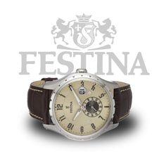 #Festina  #Herrenuhr F16486/2 im coolem #Retro-Design mit echtem Lederarmband und Quarzuhrwerk