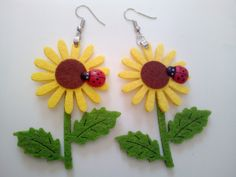 Sunflower with Leaves and Ladybug Look like Real Women Girls Earrings