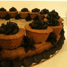 Chocolate chip cookie cake with mini peanut butter cupcakes and dark chocolate buttercream frosting Chocolate Chip Cookie Cake, Cookie Cakes, Peanut Butter Cupcakes, Chocolate Buttercream Frosting, Chips, Dark, Mini, Potato Chip, Potato Chips