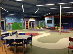 Gateway City Church - kids space The carpet creates 'areas'. Very clever.