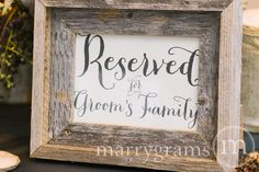 Reserved for Bride or Groom's Family Sign Table Card - Wedding Reception Seating Signage (Set of 2) Matching Table Numbers Available SS02
