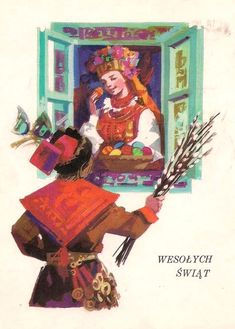 Maria Orłowska-Gabryś (1925-1988) — Wesołych Swiąt (608x850) Vintage Easter, Vintage Christmas, Polish Easter Traditions, Polish Folk Art, Art Costume, Vintage Postcards, Illustrators, Retro, Painting
