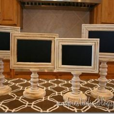 Chalkboard Pedestal Frames {tutorial}Wouldn't these chalkboard pedestal frames be fabulous food tags for a dessert bar?! The frames and pedestals can be purchased at your local craft store. A wonderful thing about these is that you can reuse them over and over.View This Tutorial