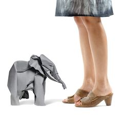 Cute #Origami Elephant!  Used as a prop in this product photo. Leather brown sandals High heels clogs by MYKAshop on Etsy, $99.00