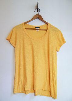 Anthropologie LEFT OF CENTER Tee Shirt Pullover Top Sz M Yellow Cotton #LeftofCenter #PulloverTee #esmesdrawer