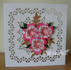 I've made a card using the Gothic Border square die set from Tonic Studios with the Peruvian Lily, Evening Primrose, Corncockle Punch an. Hobbies And Crafts, Diy And Crafts, Paper Crafts, Tonic Cards, Tattered Lace Cards, Studio Cards, Die Cut Cards, Get Well Cards, Making Ideas