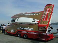 1980 U-1 U1 Miss Budweiser Bud on tilt-bed trailer, classic unlimited class hydroplane hydroplanes hydro hydros racing boat boats