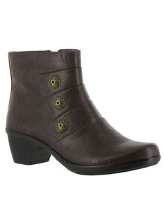 Easy Street® Arlene Bootie at http://www.FeelGoodSTORE.com. Stylish bootie with faux leather upper has button detailing and a side zip closure for easy on/off. #bootie #easystreetboots #feelgoodstore